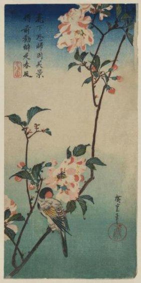 Ando Hiroshige - Small Bird On A Branch Of Kaidozakura