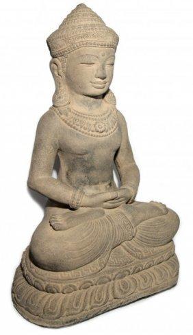 "Buddha Statue Lotus 18"" Stone Washed"