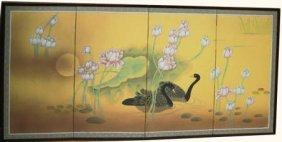 Large Oriental Silk Screen Hand Painted Geese