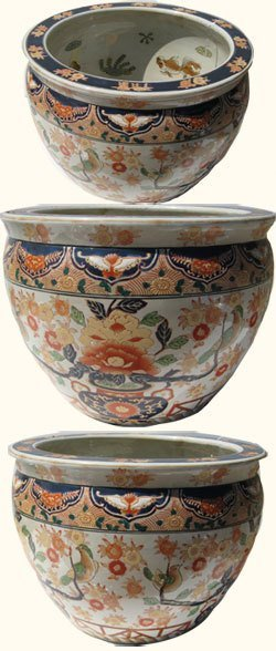 Hand Painted Chinese Porcelain Fish Bowl With Imari