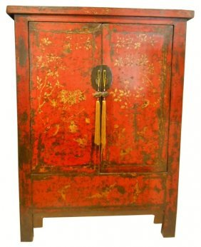 Chinese Antique Red Wedding Chest With Golden Bird And