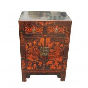 "28""h Shanxi 2 Door 2 Drawer Oriental Painted Chest"