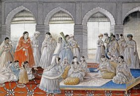 Lucknow School - The Royal Harem Playing Pachisi In A
