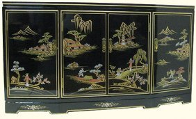 Shiny Black Oriental Buffet Hand Painted, With Shelves