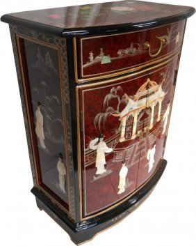 French Red Oriental Round Front Hall Cabinet.