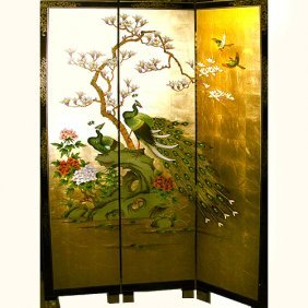 Oriental Folding Screen With Royal Peacock Gold Leaf