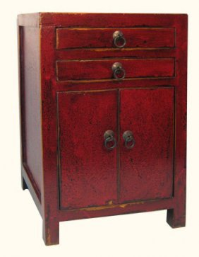 Small Antique Red Oriental Cabinet