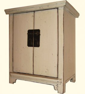 Small Oriental Cabinet White Washed.