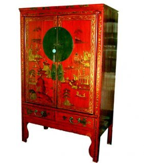 Chinese Antique Wedding Chest With Landscape Hand