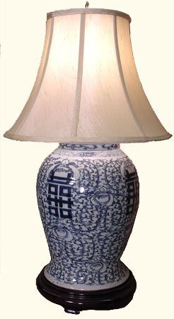 """28""""h. Hand Painted Blue And White Chinese Porcelain"""