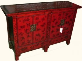 Chinese Antique Cabinet Lacquered In Red With Hand
