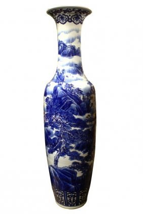 "71"" Oriental Temple Vase Hand Painted In Blue And White"