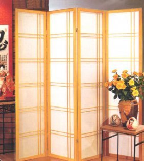 Oriental 4-panel Room Divider In Natural Finish