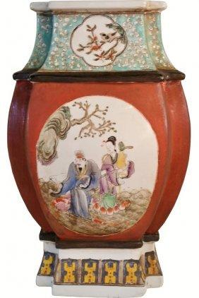 Chinese Vase Hand Glazed Panels Rare Twelve Sided