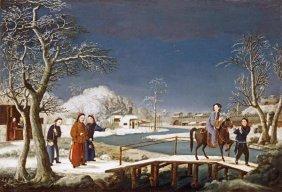 Chinese School - Winter: A Frozen River Landscape