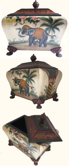 "12"" High Chinese Ceramic Mongolian Elephant Box With"