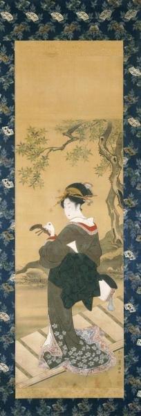 Utagawa Toyokuni - Portrait Of A Woman Tuning Her