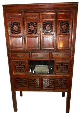 Antique Chinese Kitchen Chest With Carved Doors