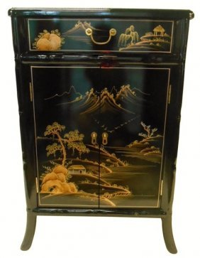 Oriental Shoe Cabinet Carved Bamboo Style