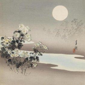 Ogata Gekko - Chrysanthemums By Stream, Ca. 1890-1910