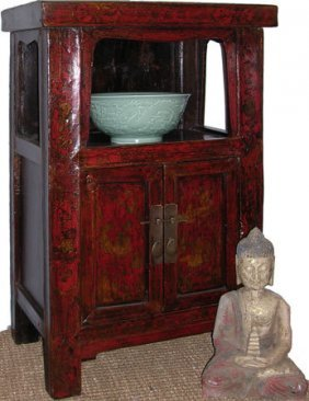 26''h.chinese Antique Two Door Plant Stand