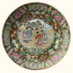 Chinese Hand-painted, Rosé Medallion Porcelain Plate,