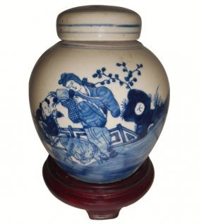 Hand Painted Blue And White Chinese Porcelain Ginger