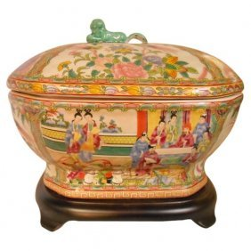 Rose Medallion Octagonal Soup Tureen With Lion Handle