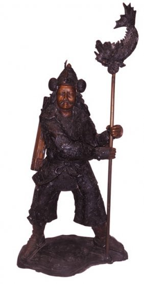 "27"" H.standing Cast Bronze Japanese Warrior With Staff"