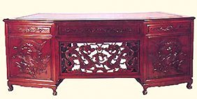 Large Executive Desk With Dragon Hand Carving.