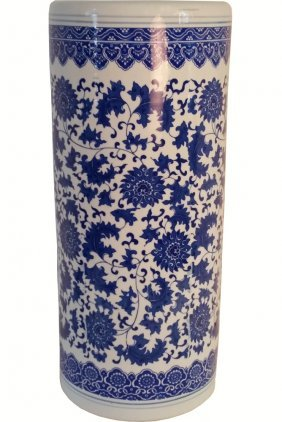 Umbrella Stand Blue And White Chinese Porcelain Daisy