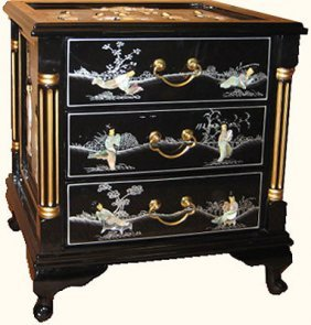 French Style Oriental Black Lacquer End Table