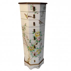 Asian White Lacquer Floral Painted Pedestal With