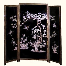 Mother Of Pearl Inlaid Japanese Floor Screen