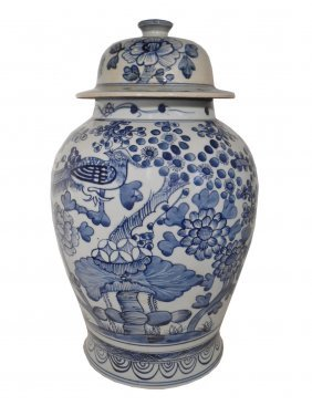 """18"""" H. Chinese Hand Painted Blue And White Bird And"""