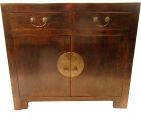 Asian Cupboard Solid Elmwood With Chinese Brass,