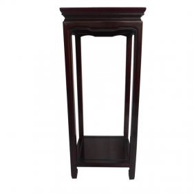 "28""h.asian Ming Style Square Plant Stand With Shelf"