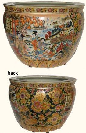 Chinese Porcelain Fishbowl Planters In Satsuma Geishas