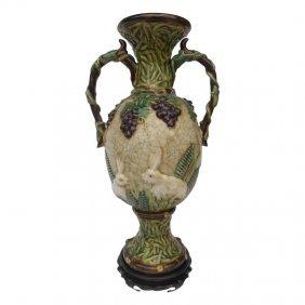 "Ceramic Grape Vase With Rabbit Carvings 21"" H."