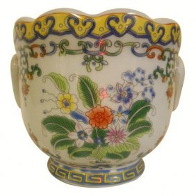 "8"" Floral Painted Porcelain Cachepot Planter With"