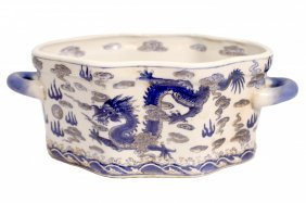 Hand Painted Oriental Blue & White Dragon Porcelain