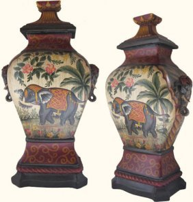 Hand Painted Chinese Porcelain Jar With Elephant Motif
