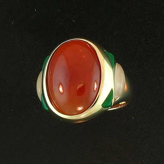 Untreated Red Jade Ring