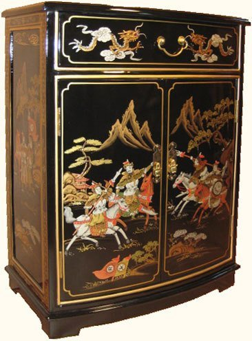 32 high.Oriental Cabinet with Round Front Hand Painted
