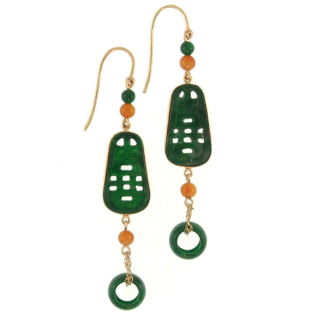 Untreated Green Jade Earrings