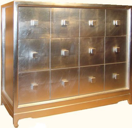Oriental Chest of Drawers, Silver Leaf, and Asian