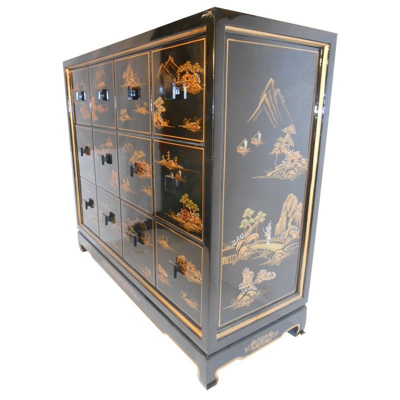 Oriental Chest of Drawers, Silver Leaf, and Asian - 3