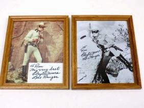 PAIR LONE RANGER - CLAYTON MOORE AUTOGRAPHS Pair Glossy