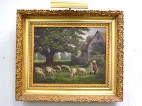 R. BRANDT - FEEDING THE SHEEP PAINTING R. Brandt -