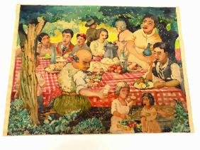 LESTER BAKER - FOLK ART FAMILY PICNIC WATERCOLOR Lester